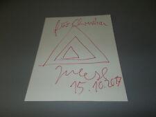 Jonathan Meese FIRMATO SIGNED AUTOGRAFO disegno su 20x27 cm CARTA LETTERA in P.