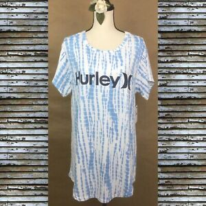 HURLEY Soft Blue / White Sleep Shirt Geometric Pajamas  Loungewear  Women's SP