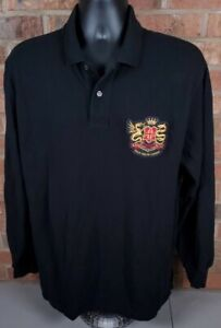 Polo by Ralph Lauren Long Sleeve Polo Embroidered Crest Black Size Large