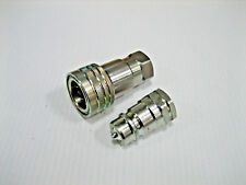 "1 Set, ISO 5675 AG Coupler SET Male/Female 3/8"" Body, 3/8"" NPT Threaded Port."