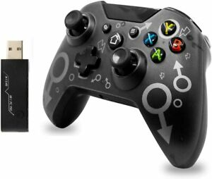 Wireless 2.4G Gamepad with Built-in Dual Vibration Black for Xbox One Windows PC