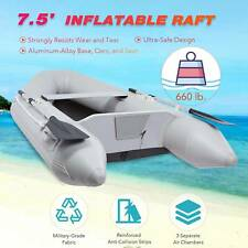 7.5' Inflatable Boat Hunting Fishing Raft for Adults on Lakes Rivers More