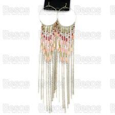 "21cm 8""long HOOP fringe chain CHANDELIER antique gold FASHION EARRINGS gift bag"