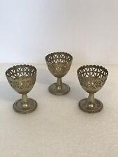 Vintage Set Of 3 Silver Plated Soft Bolied  Egg Cup Holder