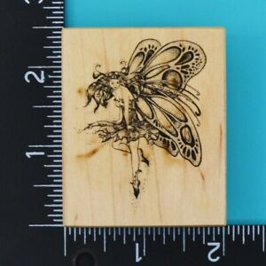 PSX Butterfly Fairy E-742 Wood Mounted Rubber Stamp 1985