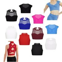 Girls Mock Neck Ballet Dance Wear Kids Gym Workout Tank Bra Stage Show Crop Top