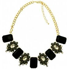 Black & Grey Crystal & Gems Chunky Statement Necklace on Gold Chain