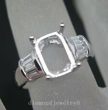 Emerald Cut 6×9 Solid 14Kt/585 Gold Natural Diamond Semi Mount Engagement Ring