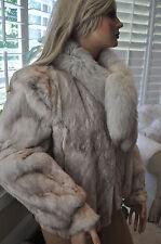 vtg Rabbit Blue FOX TAIL  collar FUR Jacket Coat Large evening apres' ski