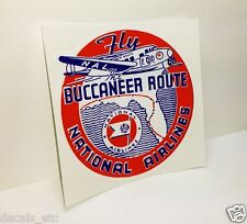 """NATIONAL AIRLINES """"FLY THE BUCCANEER ROUTE"""" Vintage Style Decal / Vinyl Sticker"""