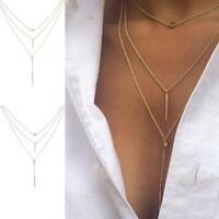 Damen Schmuck Gold/Silber Ton Multi-Layer-Discs Spaltung Lariat Choker Halskette