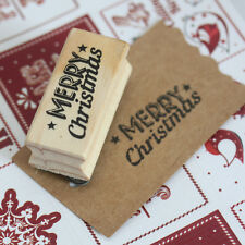 East of India 'Merry Christmas' With Stars Wooden Rubber Stamp - Craft Xmas