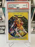 2019-20 Lebron James Panini NBA Hoops High Voltage #2 PSA 10 Lakers GEM MINT