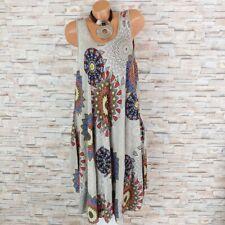 MADE IN ITALY Hängerchen Kleid Sommerkleid Ornamente Ethno hell-taupe 40 42 44