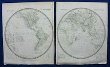 WORLD, EAST & WEST HEMISPHERE, original antique map, SDUK, 1844