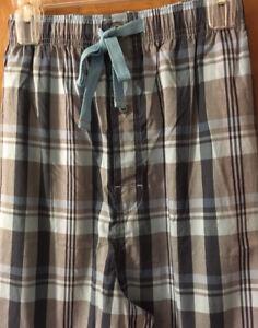 Cremieux Men's Cotton Lounge Pajama Pants Sz XLT 2XLT Blue Gray Plaid NWT
