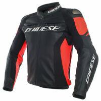Dainese Racing 3 Motorcycle Motorbike Leather Jacket Black / Black / Fluo Red