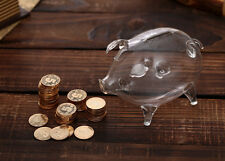 Transparent Clear Glass Chubby Pig Piggy Bank Money-box Coin Saving Box Cute Bir