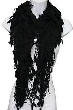Women Fashion Long Neck Shawl Soft Fabric Shoulders Scarf Black Fringes Wrap