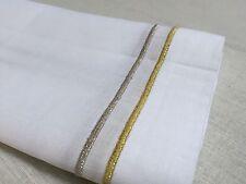 """White Gold Silver Embroidery Linen Cloth Dinner Napkin 20"""" Inch Square 1 Dozen"""