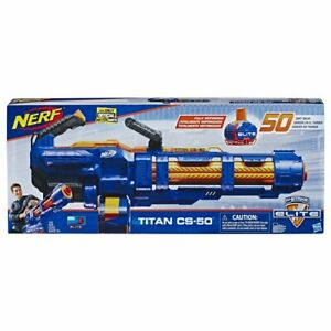NERF Elite Titan CS 50 Blaster With 50 Official Darts Ages 8+ Toy Gun - New