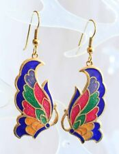 Elegant Blue & Colors Genuine Cloisonne Enamel Butterfly Earrings 1970s vintage