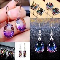 Women 925 Silver Mystic Rainbow Topaz Ear Stud Dangle Earrings Wedding Jewelry