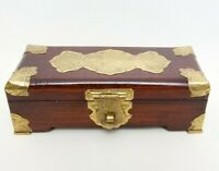 Vintage Asian Rosewood Jewelry Box Hand Engraved Brass Fully Lined Desk Decor Wo