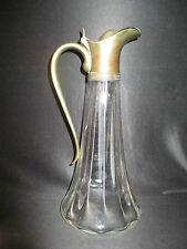 ancienne grande cruche carafe en verre soufflé et laiton Art Nouveau fin XIX ème