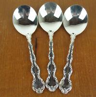 """3 x Cream Soup Spoons 5 3/4"""" Birks Regency Plate Louis de France silverplate"""