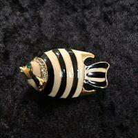 Vintage CRAFT Signed Angel Fish Pin Gold Tone Rhinestone Enamel Brooch