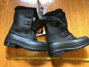 SOREL Badger Boots Black Leather snow duck rubber NEW w/Tags sz 2 Canada Youth
