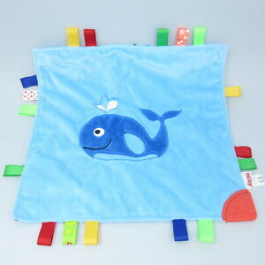 Nuby blue Whale stars ribbon taggy taggie baby comforter blankie doudou teether