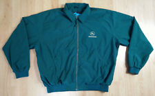 Tri-Mountain Men Jacket L John Deere Windbreaker Coat Zip Embroidered Logo Green