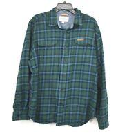 Field & Stream Mens Green Button Front Long Sleeve Plaid Flannel Cotton Shirt XL
