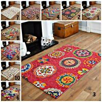 GEOMETRIC CUBES FLORAL PATTERN LARGE TO SMALL MODERN SOFT MULTI COLOUR RUG sale