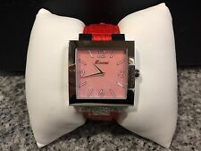 Zoccai Ladies Watch Square Mother of Pearl Face & Red Embossed Leather Strap