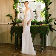 Shiny Lace Mermaid 3/4 Sleeve Wedding Dress White/Ivory Beaded New Bridal Gown