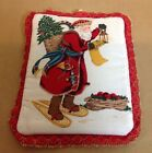 Country Pot Holder or Hot Pad, Santa Claus, Toys, Apples, Tree, Red Lace Edge