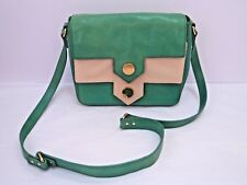 ORLA KIELY green ivory leather cross body shoulder saddle bag handbag