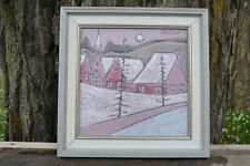 Charles Sucsan Framed Art Ceramic Plaque Quebec MCM Canadian Pottery
