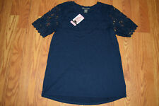 Womens Adrianna Papell Navy Lace Top Short Sleeve Shirt Size S Small