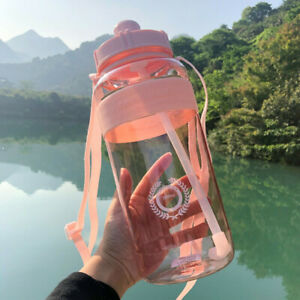 Large Capacity Water Bottle Sports Drinking Outdoor Portable Kettle With Straw