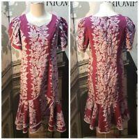 Vintage Lei Aloha Casuals Womens Purple Hawaiian Dress EUC Size Medium