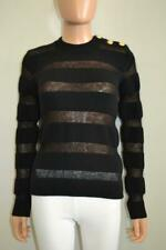 Balmain Black Wool/Mohair Blend Striped Sweater Size 34/US 2