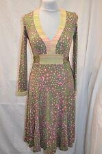 Issa London 100% Silk Jersey Green Stars & Dolphin design Long Sleeve Dress UK 8