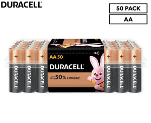 Duracell Coppertop AA Battery 50-Pack - 10 Year Shelf-life/Home/Office/Garage 🐙