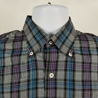 Peter Millar Mens Black Blue Purple Plaid Check Dress Button Shirt Sz Medium