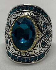 Silver Plated Blue Topaz Cubic Zirconia Accent Ring Size 9