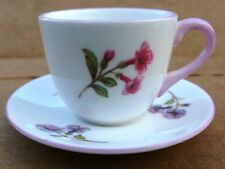 Miniature Shelley Cup & Saucer - Pink Trim - Pink & Purple Flowers